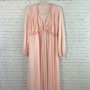 Vintage 70s Miss Elaine 2 Pc Nightgown Robe Pink